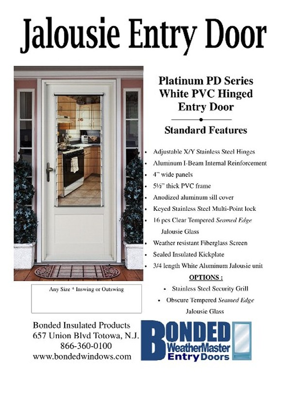White PVC Framed 1-3/4  entry door with an operating aluminum jalousie. Multi-Point Locking Stainless Steel Hardware and 3 Stainless Steel hinges for any ...  sc 1 st  Storm Doors Fiberglass u0026 Steel Entry Doors Vinyl Patio u0026 French ... & 118510694.jpg pezcame.com